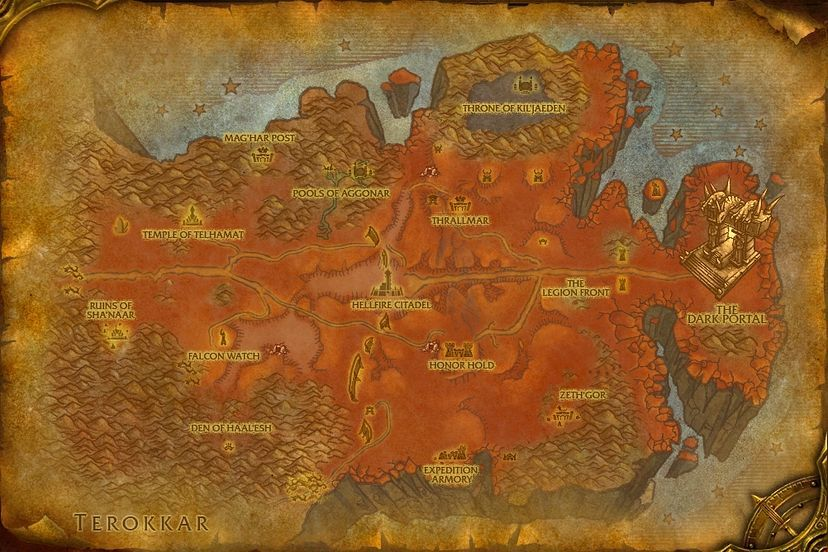 Legion World Map.The Legion Front Hellfire Peninsula Map World Of Warcraft Cataclysm