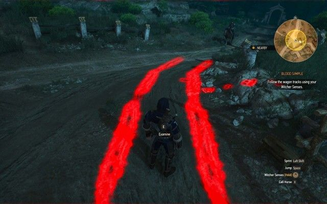 Follow the wagon tracks using your Witcher Senses.