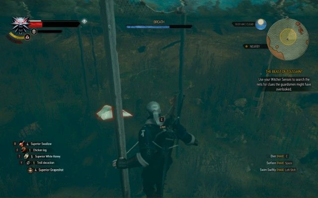Use your Witcher Senses to search the nets for clues the guardsmen might have overlooked.