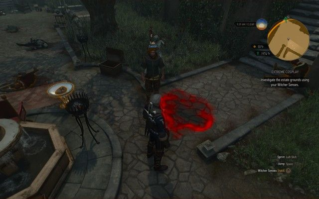 Investigate the estate grounds using your Witcher Senses.