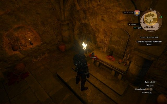 Search the crypt using your Witcher Senses.