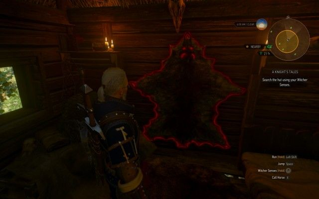 Search the hut using your Witcher Senses.