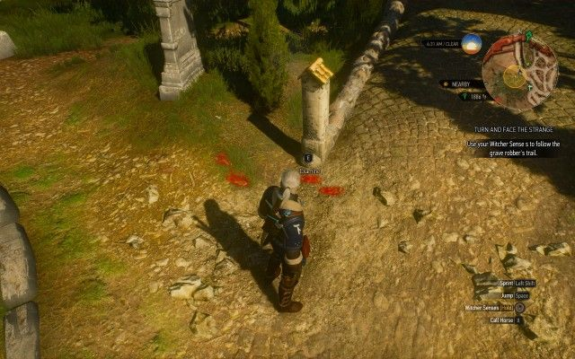 Use your Witcher Sense s to follow the grave robber's trail.