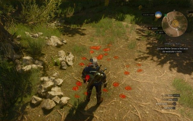Use your Witcher Senses to find Jacob the woodcutter's tracks.