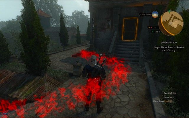 Use your Witcher Senses to follow the smell of burning.