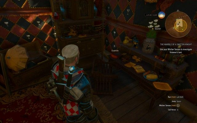 Use your Witcher Senses to investigate Vivienne's tent.