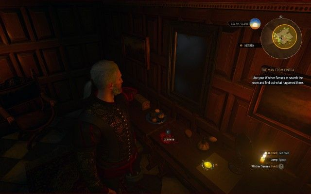 Use your Witcher Senses to search the room and find out what happened there.