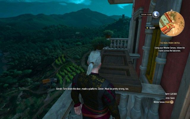 Using your Witcher Senses, follow the tracks across the balconies.